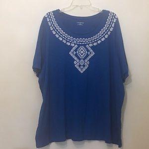 Catherines Aztec Print Cotton Tshirt Top 3X 26/28W
